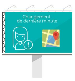 Dans les espaces de loisirs les visiteurs sont informés des changements grâce aux écrans dynamiques