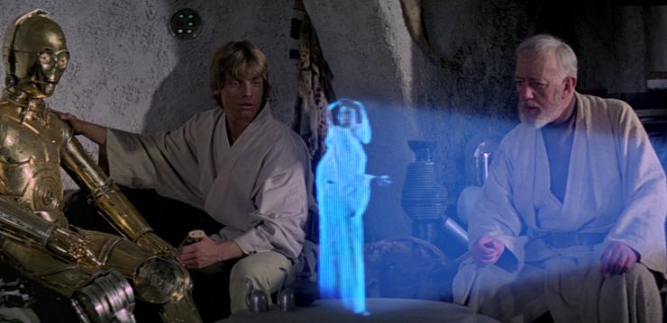 Star Wars, épisode IV : Un nouvel Espoir (1977) - Tous droits réservés Lucasfilms - hologramme